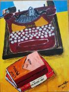 typewriter & books