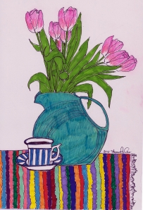 pink tulips with striped cup