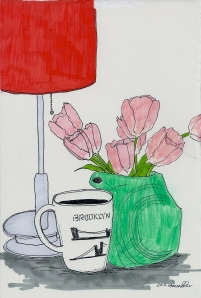tulips, brooklyn, red lamp