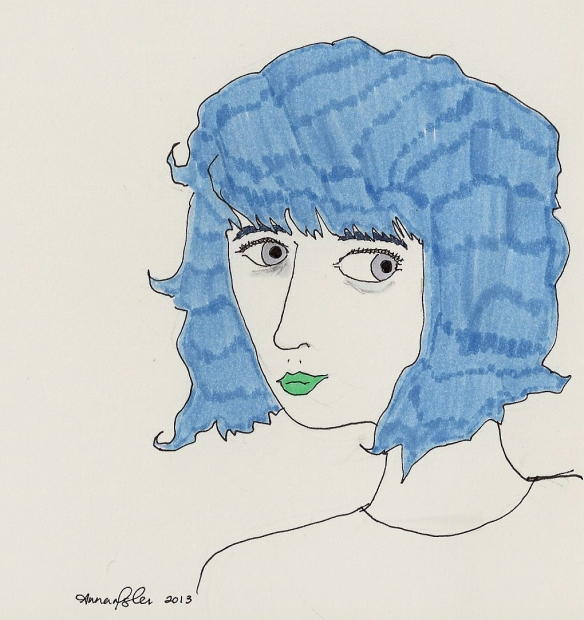 self-portrait with blue hair