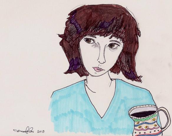 self-portrait with coffee