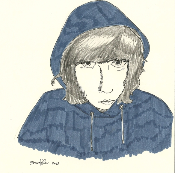 self-portrait in hoodie