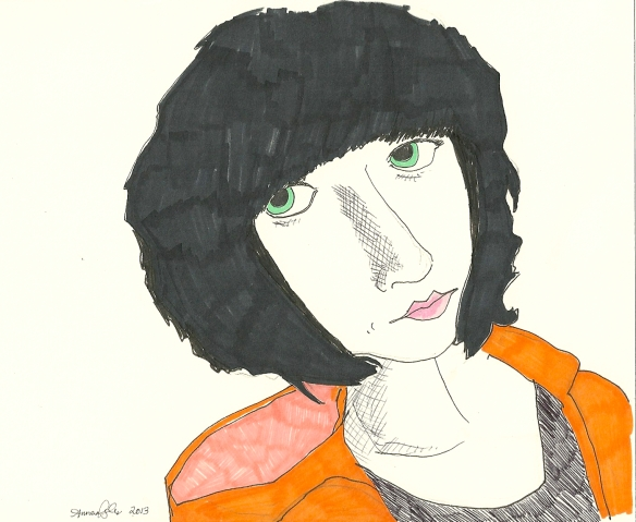 self-portrait in orange hoodie