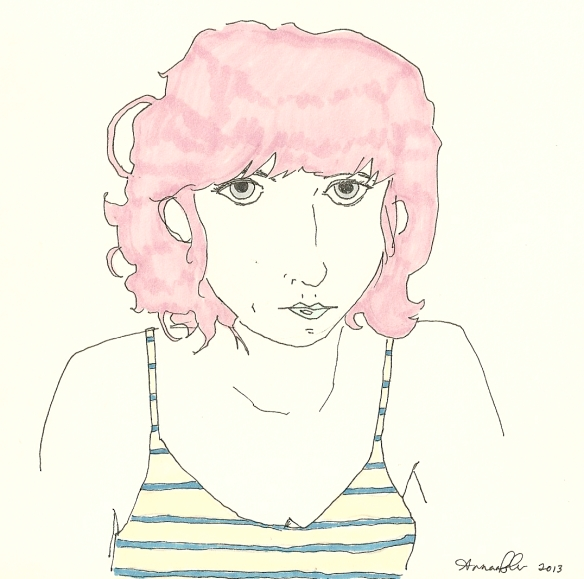 self-portrait with pink hair