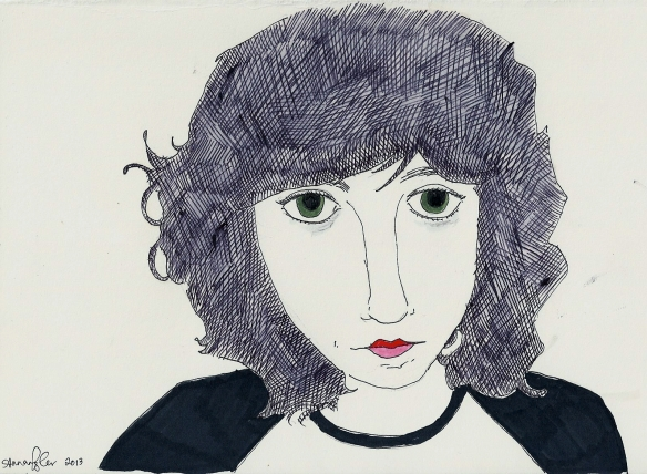 self-portrait with red and pink lips