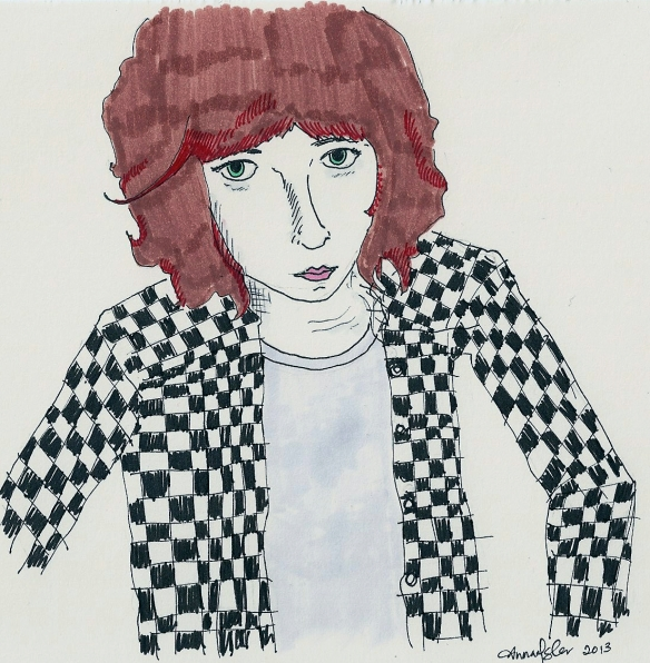 self-portrait in checkered shirt