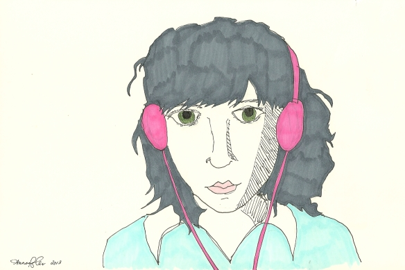self-portrait with pink headphones