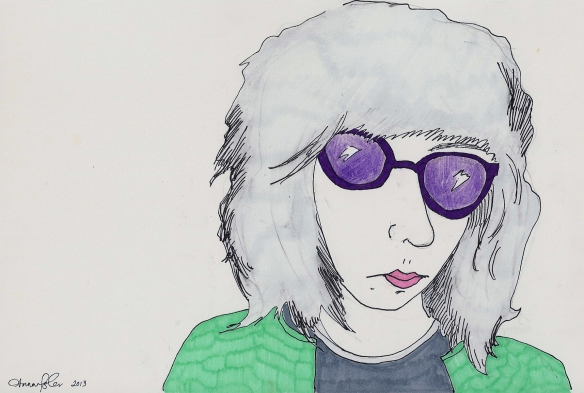 self-portrait in purple sunglasses