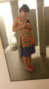 flower dress in bathroom