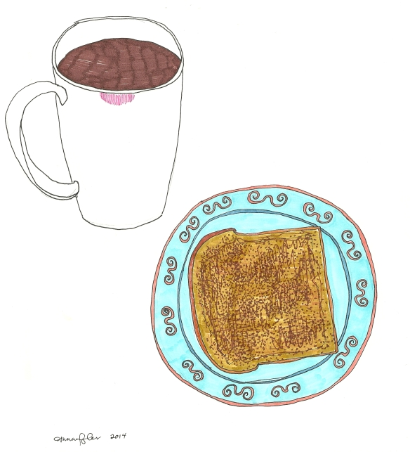 coffee (with lipstick) and toast