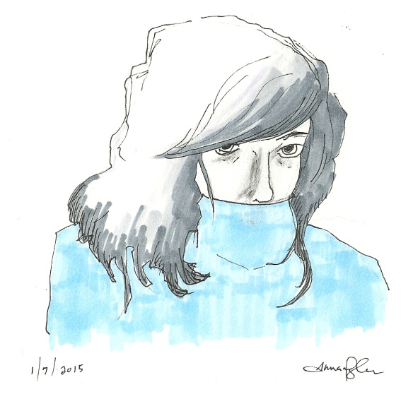 self portrait in blue sweater