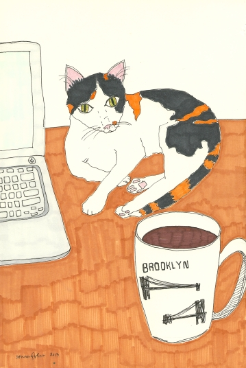 laptop, cat, and coffee